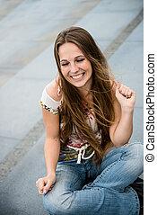 retrato, mulher, ao ar livre, jovem