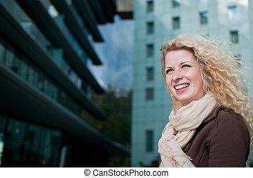 retrato, mulher, ao ar livre, negócio