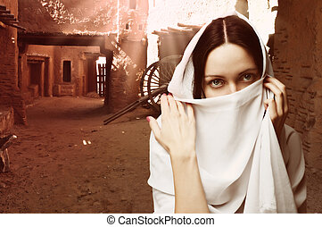 retrato, mulher, asiático