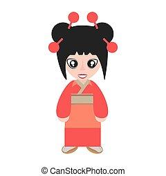 retrato, mulher, asiático, roupas