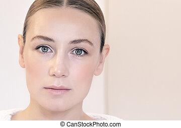 retrato, mulher, autêntico