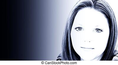 retrato mulher, azul