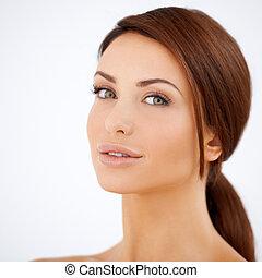 retrato, mulher, beleza natural