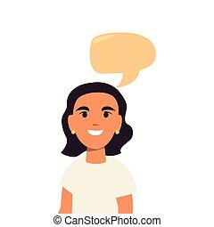 retrato, mulher, bolha, jovem, conversa