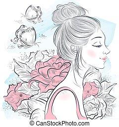 retrato, mulher bonita