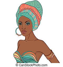 retrato mulher, brinco, africano, bonito