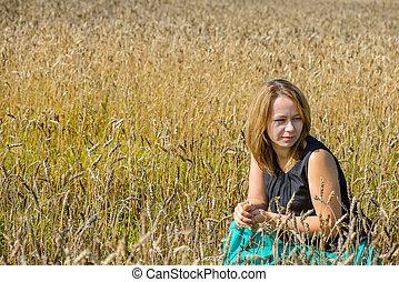retrato, mulher, campo