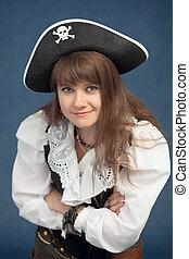 retrato, mulher, chapéu, pirata