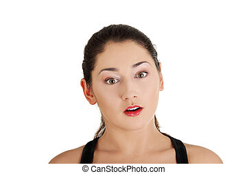 retrato, mulher, chocado