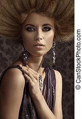 retrato, mulher, closeup, loura