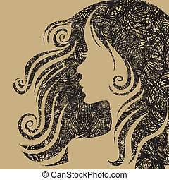 retrato, mulher closeup, vetorial