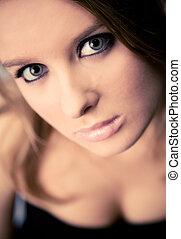 retrato, mulher, conceito, jovem
