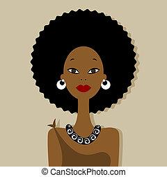 retrato, mulher, desenho, seu, africano