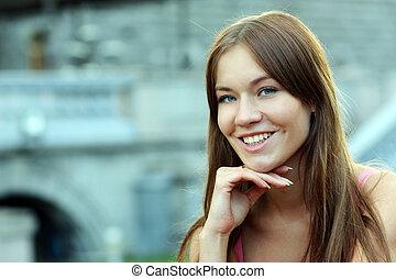 retrato, mulher, excitado, glamour