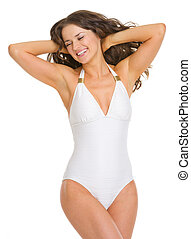 retrato, mulher feliz, jovem, swimsuit