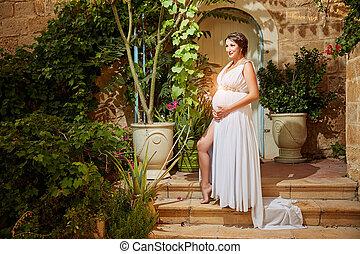 retrato, mulher, feliz, orgulhoso, grávida