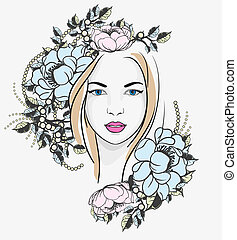 retrato, mulher, flores, jovem