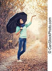 retrato, mulher, guarda-chuva