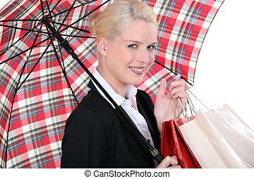 retrato, mulher, guarda-chuva, jovem