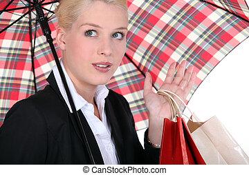 retrato, mulher, guarda-chuva, sob