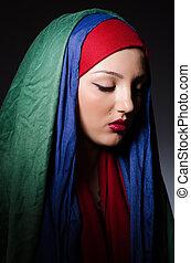 retrato, mulher, headscarf, jovem