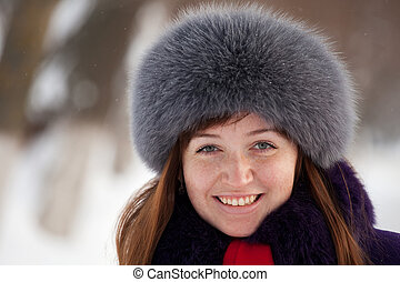 Retrato, mulher, Inverno