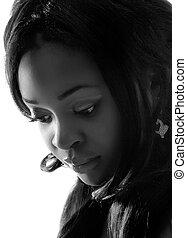 retrato, mulher, jovem, africano