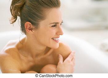 retrato, mulher, jovem, banheira