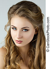 retrato, mulher, jovem, beleza