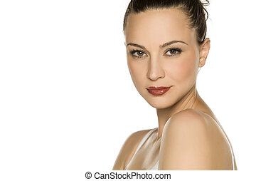 retrato, mulher, jovem, bonito
