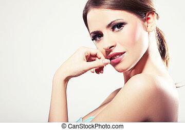 retrato, mulher jovem, bonito, excitado