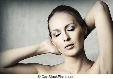 retrato, mulher jovem, bonito, moda, excitado