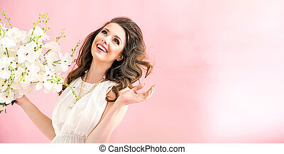 retrato, mulher, jovem, charming
