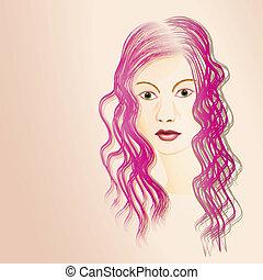 retrato, mulher jovem