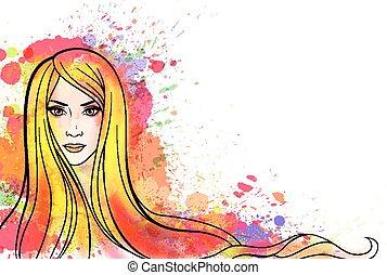 retrato, mulher, jovem, coloridos, esguichos