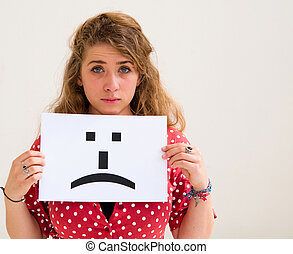 retrato, mulher jovem, com, tábua, triste, emoticon, rosto,...