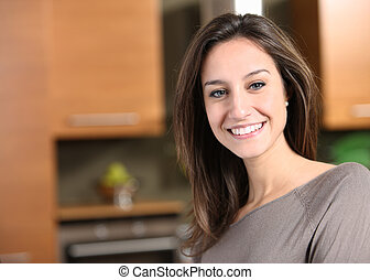 retrato, mulher, jovem, cozinha