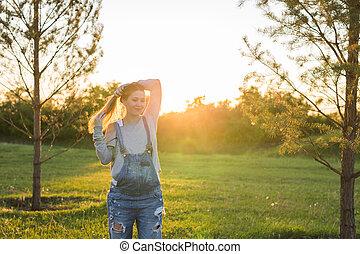 retrato, mulher, jovem, natureza, grávida