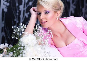 retrato, mulher, jovem, romanticos