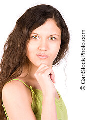 retrato, mulher, jovem, surpreendido
