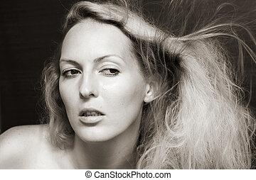 retrato, mulher, moda, beleza