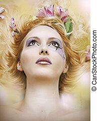 retrato, mulher, moda, beleza, borrão