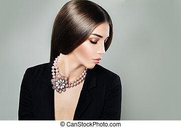 retrato, mulher, moda, cute
