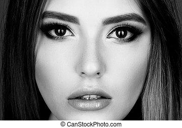 retrato, mulher, moda, jóia