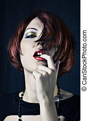 retrato, mulher, moda, jovem, beleza