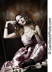 retrato, mulher, moda, loura