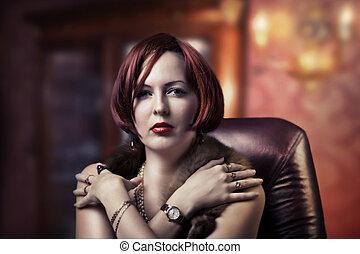 retrato, mulher, moda, luxo