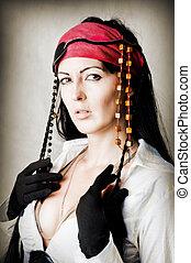 retrato, mulher, moda, pirata
