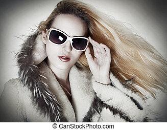 retrato, mulher, moda, sedutor