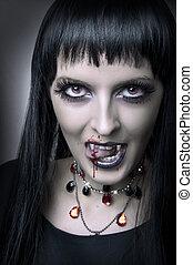 retrato, mulher, moda, vampiro